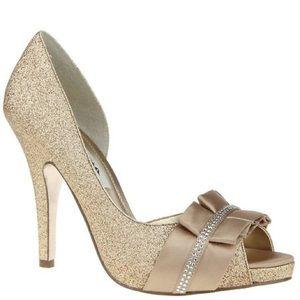 Nina Elanna Gold Crystal Heels size 7